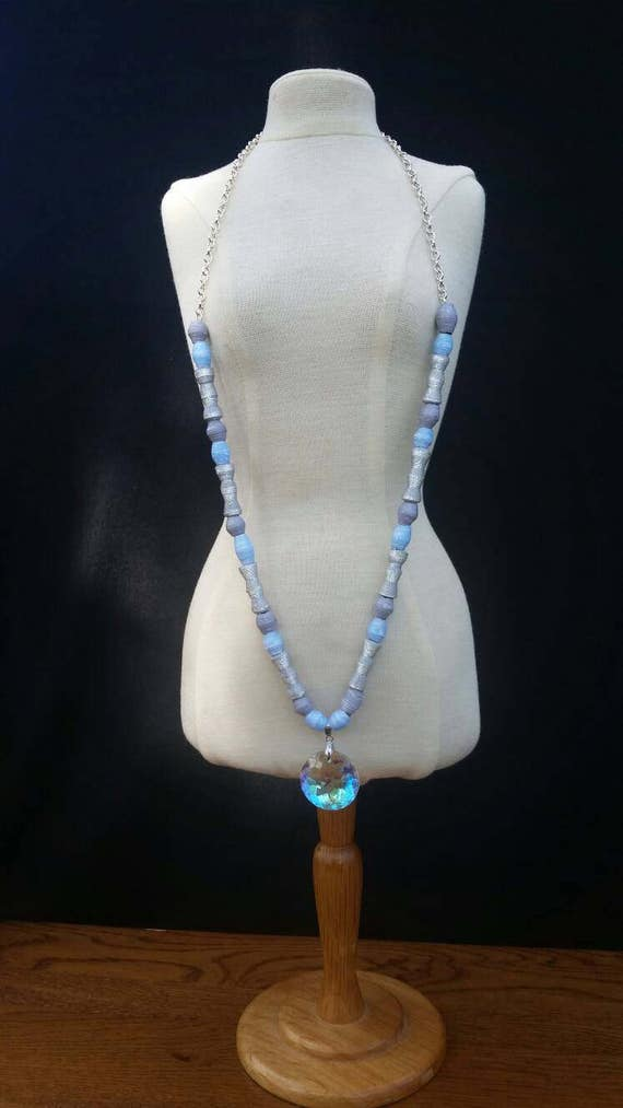 Crystal Blue- Paper Bead Necklace