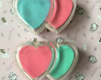 2 erasers double heart vintage 80 s