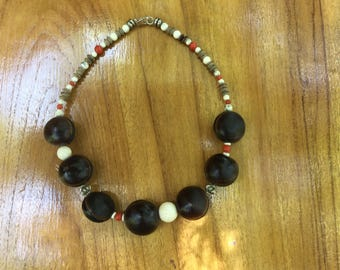 Coral and seed necklace