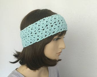 Crochet Women Summer Headband in Aquamarine Blue Girl Headband Women Accessories Great Gift