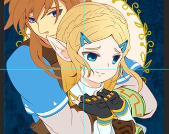 Legend of Zelda Breath of the Wild Link and Zelda *LIMITED EDITION* prism postcard