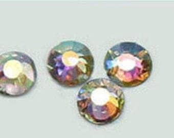Rainbow gem 4mm flat backed
