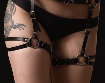 Leather garter,  garter belt,  leather leg harness, leg harness,  leather harness,  garters,  garter set