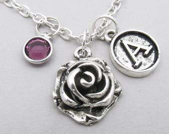3D Rose vintage style initial necklace | rose charm necklace | rose pendant | personalised rose necklace | rose jewelry | birthstone