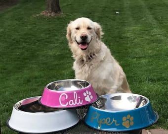 Monogrammed Dog Bowl, Custom Dog Bowl, Stainless Steel Dog Bowl, Personalized Dog Bowl