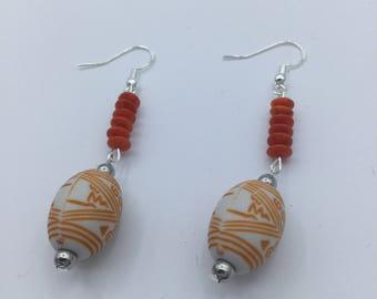 Orange Coral ethnic Boho Style Bead Dangle Earrings Sterling Silver