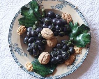 "Christine Viennet French Art Pottery Trompe L'oeil Plate ""Grapes and Walnuts"""