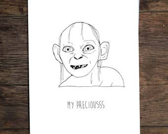 Funny Gollum Lord of The Rings Greeting Card