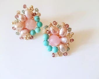 Earrings with pink pearls, rose quartz, turquoise natural stones and crystals