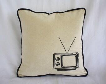 Pillow Cover - Natural Muslin, Retro TV, Decorative Pillow