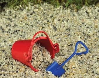 Fairy Garden Dollhouse Miniature Red Metal Pail & Shovel