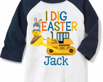 Easter Shirt - Boy Easter Bunny Shirt Personalized With Name