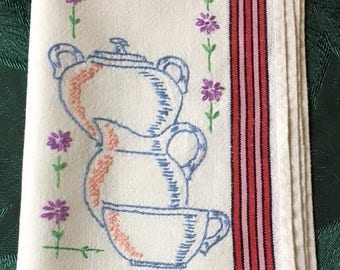 Vintage Tea Towel with Embroidery Teapot and Tea Cup 26.5 x 15""