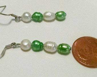 Green and White Freshwater Pearl Earrings