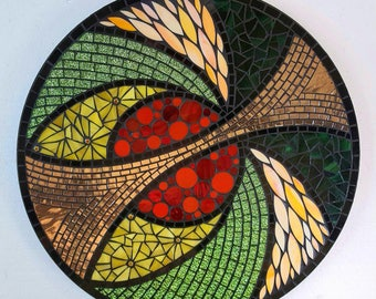Autumn Elements Stained Glass Mosaic Lazy Susan