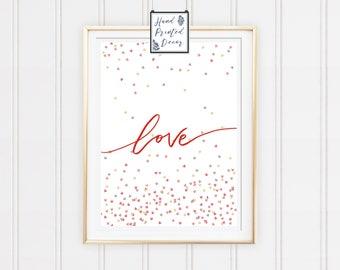 Love Wall Art, Love Print, Love Wall Design Art, Love and Hearts Wall Art