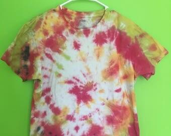 Adult Medium Tie Dye T-Shirt--Handmade--Tie Dye Swirl--Pink/Red--Lime Green, Yellow/Orange--Cotton