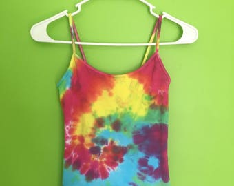 Vibrant Adult Small Tie Dye Tank Top--Handmade--Rainbow--Pink, Orange, Yellow, Blue, Light Blue, Purple