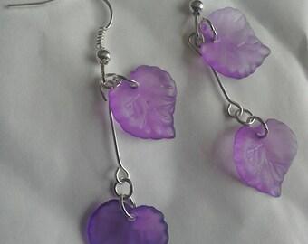 Purple leaf cluster earrings