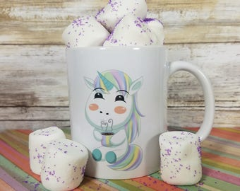 Cute Kawaii Chibi Unicorn Mug with or without text