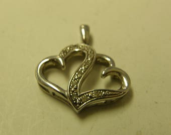 Sterling Silver Diamond Double Heart Pendant - Very Pretty
