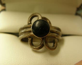 Antique Black Onyx Sterling Silver Ring- Size 8