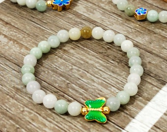 Jade Stretch Bracelet with Butterfly Accent Bead for young child
