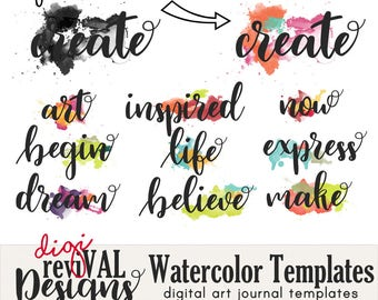 Digital Watercolor Templates