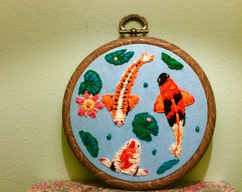 Koi Pond Embroidery Hoop (4inch)
