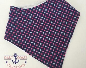 Navy dots bandana bib