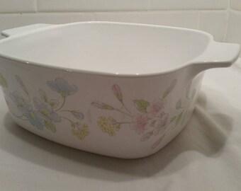 Corning Ware 1.5 QT Casserole Pastel Bouquet Pink Blue Flowers Floral