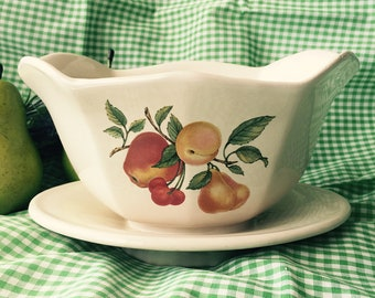 Teleflora Gravy Boat Fruit Decorated Porcelain Ceramic Attached Underplate Tableware