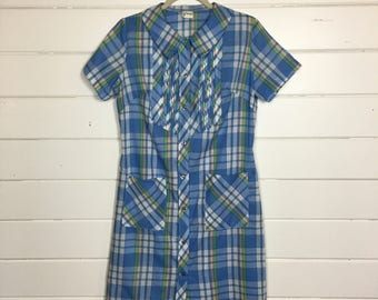 Vintage 1960s Plaid Button Front Day Dress / Shirtdress / Opalescent Buttons