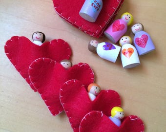 Mini sweetheart peg dolls