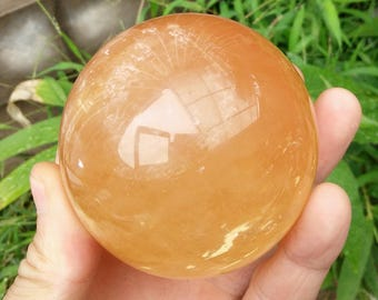 Natural calcite citrine yellow crystal ball ornament