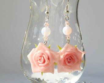 Pink roses FlowersJewelry set Rings rose from cold porcelain weddings Delicate rings Handmade earrings Bauble Drop earrings dangle earrings