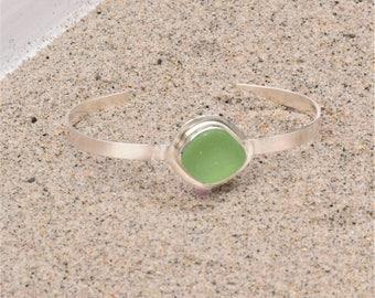 Sea Glass Bracelet Sterling Silver Seafoam Green Cuff