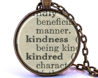 Kindness Dictionary Pendant Necklace, Birthday Gift, Graduation Gift, Bridesmaid Gift, Definition Necklace, Teacher Gift, Gift for Friend