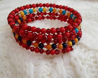 Red multicolored memory wire bracelet