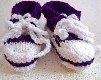 Handmade Baby Sneakers – Knitted kids Hightops– baby shower gift - newborn booties - childrens trainers