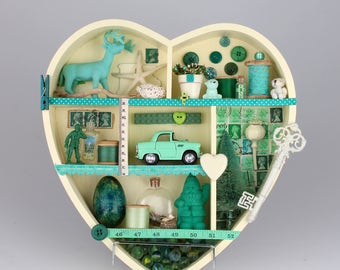 Decorative heart shaped shelf, turquoise, green and cream. Bespoke children's nursery decoration.