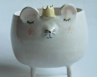 Stephen the Mouse - ceramic mouse bowl, planter