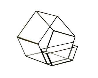 Geometric Glass House with businescard holder, Terrarium, stained glass terrarium