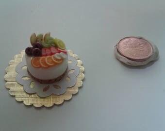 Dollhouse Barbie food: Mixed Fruits Cheesecake