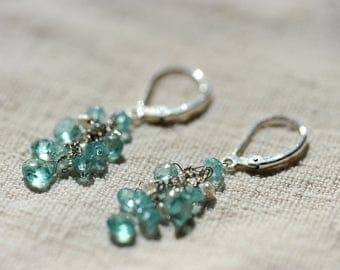 Apatite, pearl, and sterling silver earrings