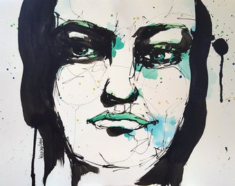 Untitled - Fine Art Print of original ink and watercolor painting