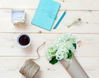 SET OF TWO: Blue Notebook with Hydrangea