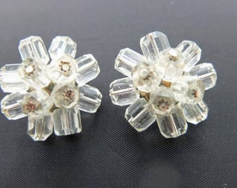 Vintage Clip Earrings - Pretty Glass Beaded Flower Earrings, Mad Men Earrings, Costume Jewellery, Really Unusual Style!