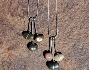 Wrapped Stone Waterfall Necklace