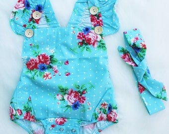 Sky Blue Floral Baby Romper with Matching Headband